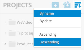 WeVideo Sort Projects