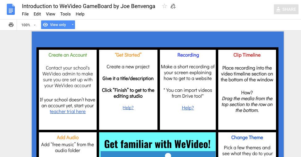 How to get started with WeVideo: board game