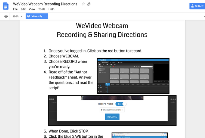 WeVideo webcam recording directions Google Doc