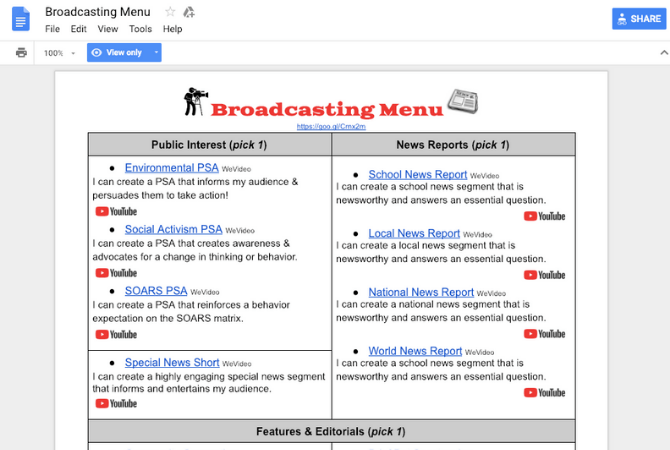 Broadcasting choice menu