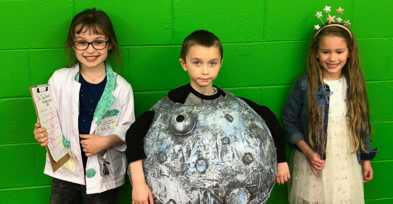 Students using green screen